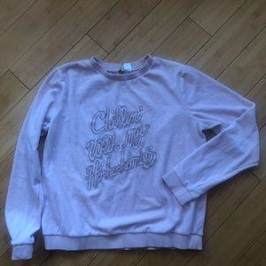Baby Pink Crushed Velvet Holiday Sweatshirt